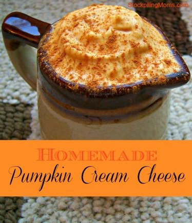 This Homemade Pumpkin Cream Cheese Recipe is perfect on a bagel during the fall!