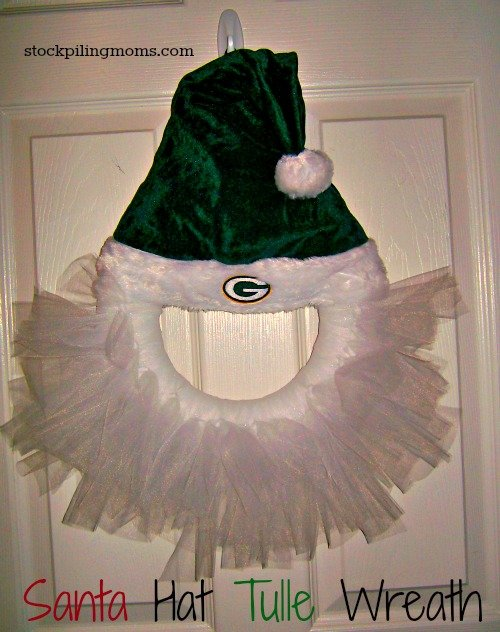 How To Make a Santa Hat Tulle Wreath - An easy homemade holiday decoration for the sport fanatic in your house!