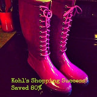 Kohl's Shopping Success!  Rainboots for only $1.99!