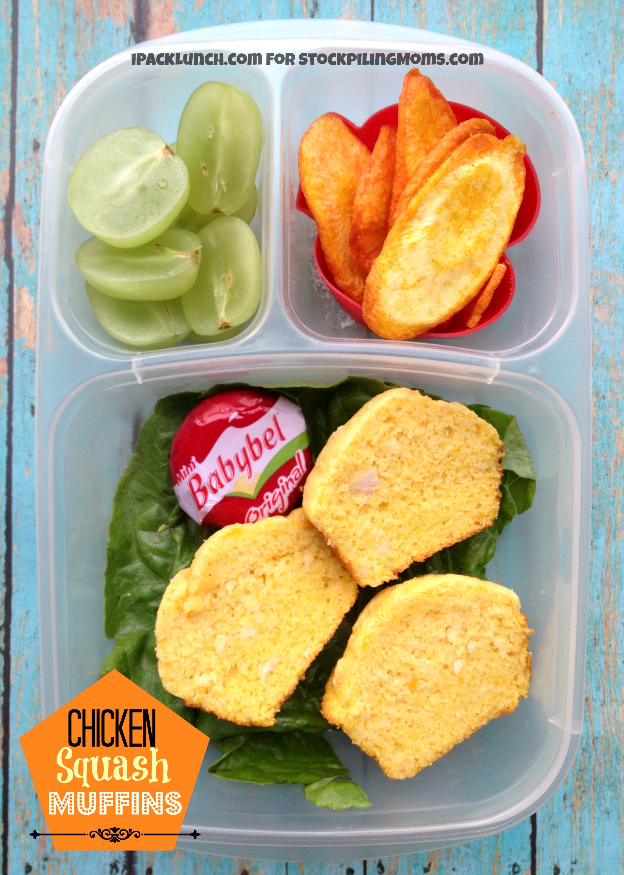 3 for 3 Lunchbox Challenge - Lunch Ideas including Rotisserie Chicken, Pureed Butternut Squash, Green Grapes