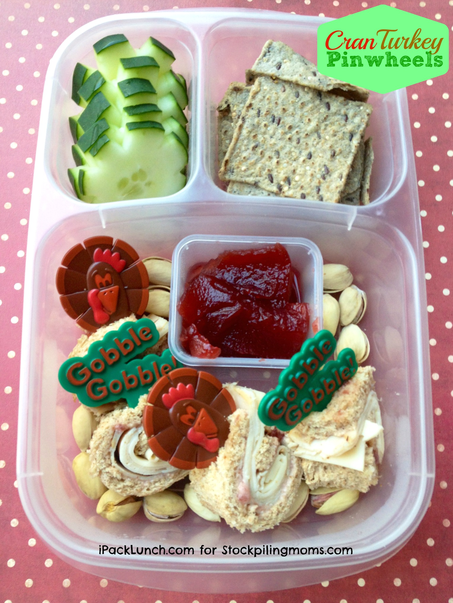 3 for 3 Lunch Challenge - Lunchbox Ideas using Turkey, Cranberry Sauce and Cucumbers (Perfect for Thanksgiving)