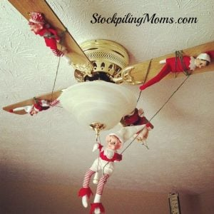 All tied up and hanging out on the ceiling fan!