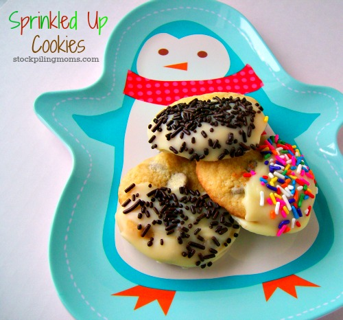 The kids will love these fun sprinkled up cookies! Spoiler alert. They are only semi-homemade but that is our secret.