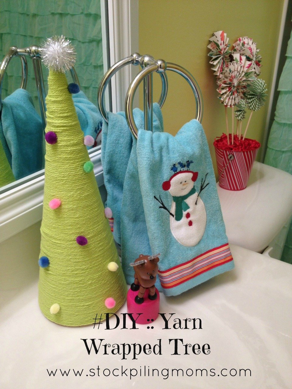 How To Make a Yarn Wrapped Tree - Inexpensive Christmas Decoration