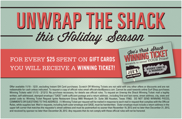Joe's Crab Shack Holiday Gift Card Deal 2012