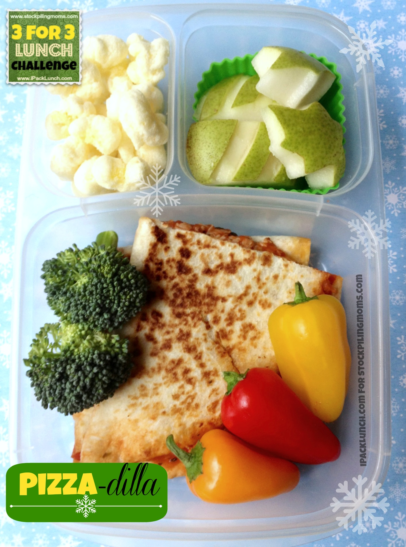3 for 3 Lunch Challenge featuring pepperoni, broccoli and pears