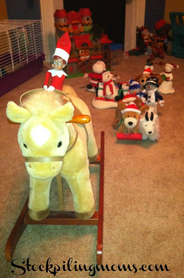 The Elf on the Shelf leads a toy parade!  A great way for your Elf on the Shelf to arrive on the first night!