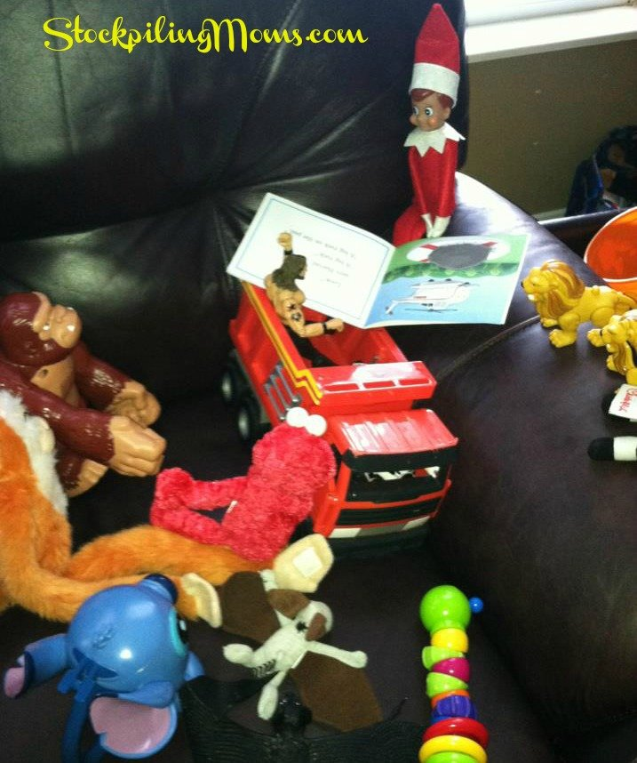 All of the toys joined our elf to read books