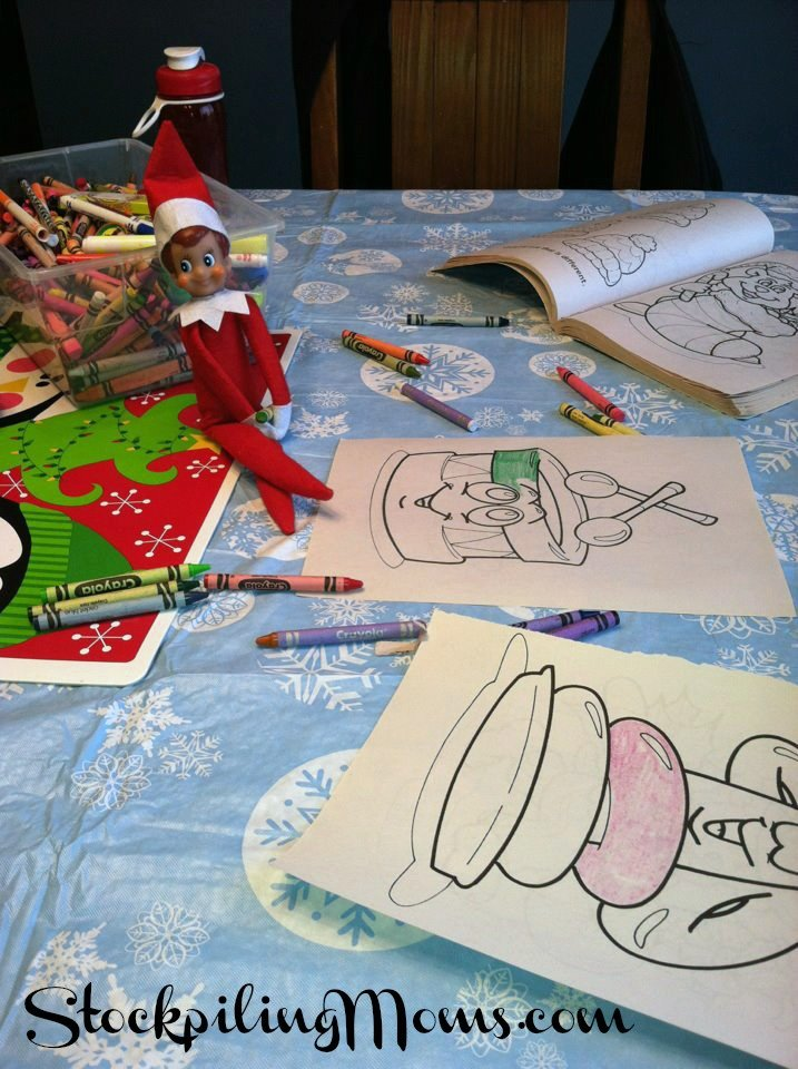 Our elf gets into the coloring supplies and makes a mess!