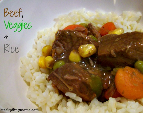 Crockpot Beef, Veggies and Rice is an easy slow cooker recipe the whole family will love.