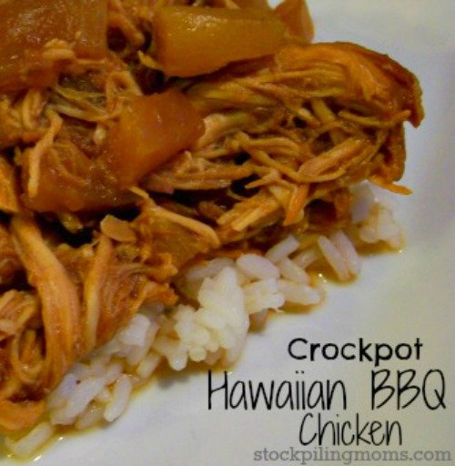 Crockpot Hawaiian BBQ Chicken - Only 3 ingredients in this delicious chicken slow cooker recipe!