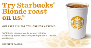 FREE Starbucks :: Tall Blond or Vanilla Blond Roast