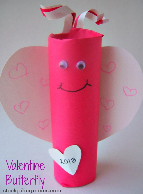 Valentine Butterfly is so easy to make from a empty toilet paper roll!  This inexepsive craft is perfect for Valentine's Day!