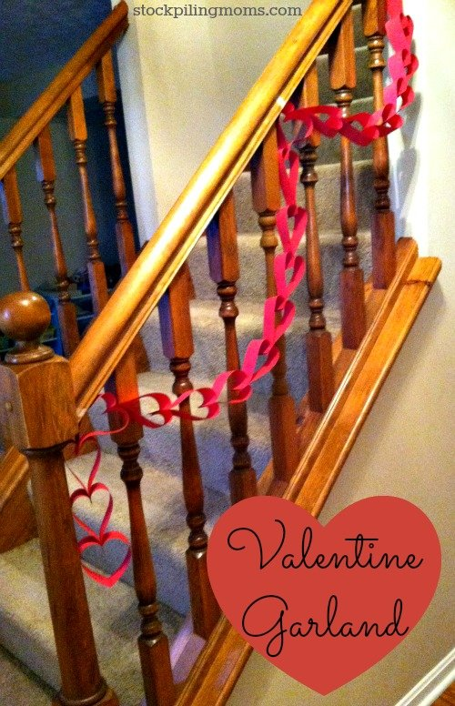 DIY Valentine Garland costs pennies to make and is fun for the whole family.