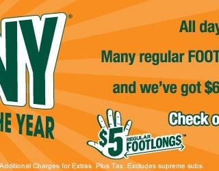 $25 Subway Gift Card Giveaway :: FebruANY specials only $5 :: CLOSED