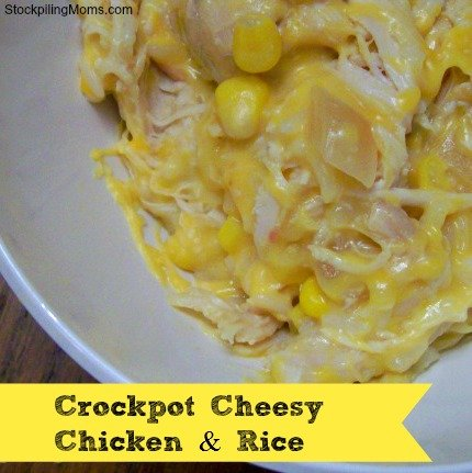 Only six ingredients in this yummy crockpot cheesy chicken and rice dinner recipe. This is a family favorite!