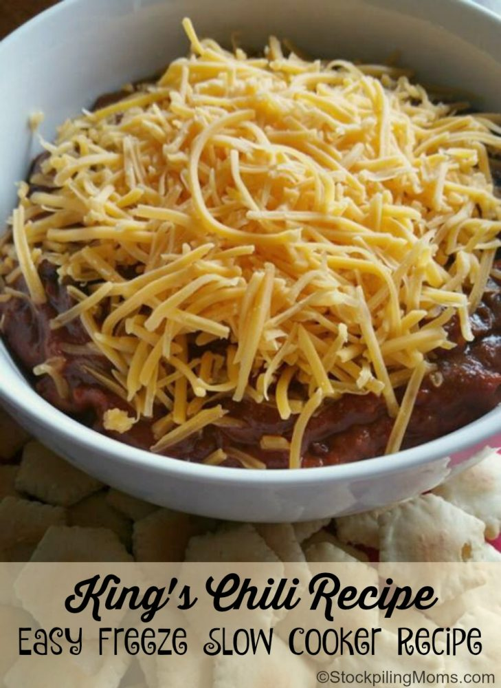 King's Chili Recipe is an Easy Freeze Slow Cooker Recipe. We LOVE this one for game day or a busy weeknight meal!