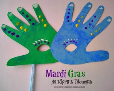 Mardi gras handprint for Mardi gras masks crafts