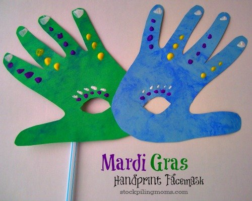 This Mardi Gras Handprint Mask Craft is so easy to make and fun for the kids!