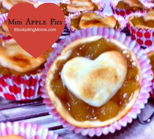 Mini Apple Pies are perfect for Valentine's Day and they could easily be adapted to other holiday's or special occasions.