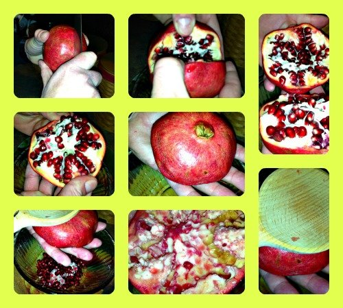 How to remove pomegranate seeds with a wooden spoon. This is a great tip for using and eating a pomegranate.