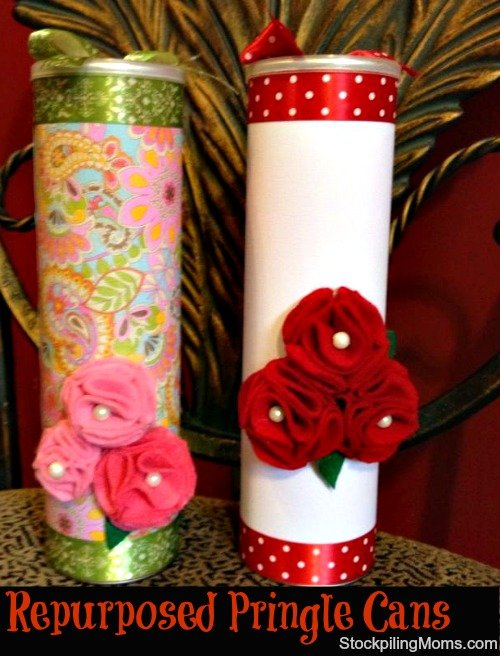 This upcycled gift can be filled with candy or home baked items for an inexpensive gift idea