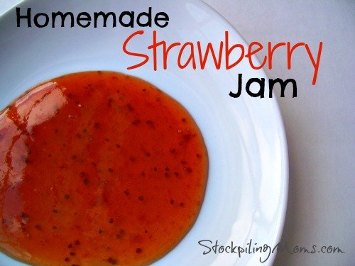 This recipe for Homemade Strawberry Jam is so easy to make because you make it in the crockpot! Just put it in the slow cooker and let it cook all day.  Best of all you also only need 4 ingredients!