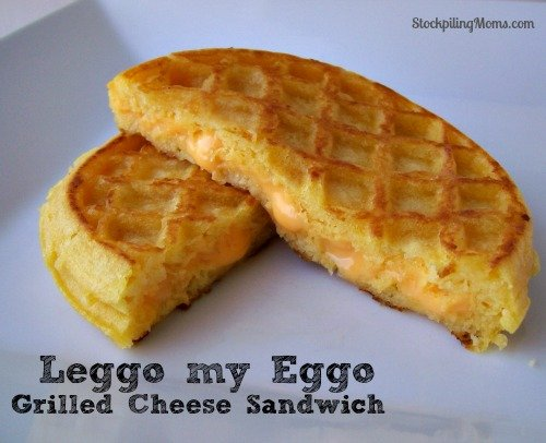 Leggo my Eggo Grilled Cheese Sandwich. My son flipped out when I made this for him for lunch. HUGE mom win!
