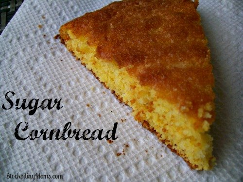 With a a touch of sweetness this Sugar Cornbread is easy to make with a box of Jiffy Cornbread Mix!