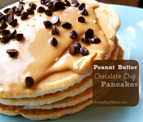 Peanut Butter Chocolate Chip Pancakes are AMAZING! You have to try these today!