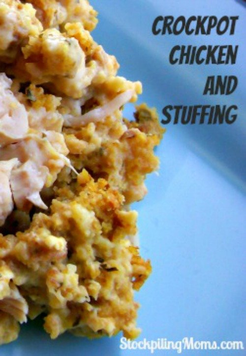 Crockpot Chicken and Stuffing Recipe is so easy to make with only a 4 ingredients!