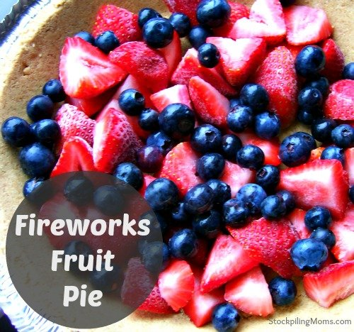 Fireworks Fruit Pie is an easy to prepare dessert and perfect for Memorial Day. #memorialday #July4th #Patriotic #Jello #Flag