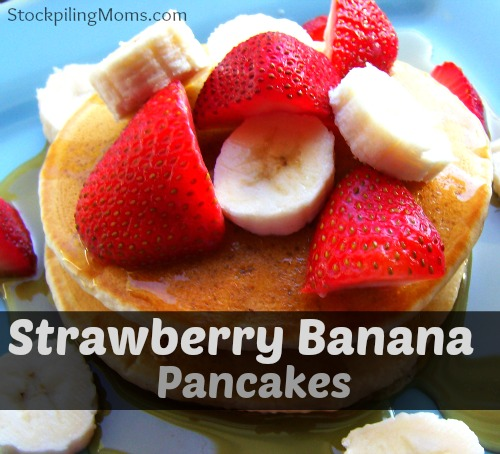 Strawberry Banana Pancakes are healthy and delicious! #pancake #strawberry #banana
