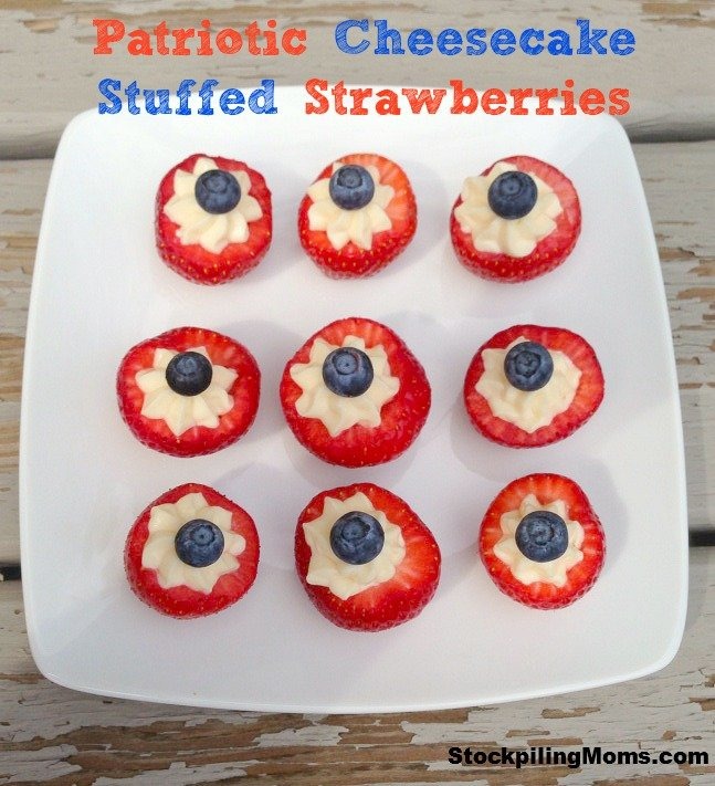 Patriotic Cheesecake Stuffed Strawberries Recipe are the perfect no bake dessert for July 4th!