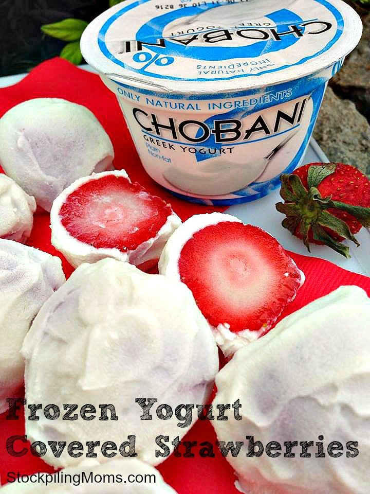 Only two ingredients in this healthy snack! Frozen Yogurt Covered Strawberries are AMAZING and perfect to enjoy poolside!