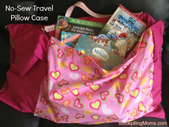 This No-Sew Travel Pillow Case is perfect for Summer Travel! It makes a fun alternative to an Easter Basket or Christmas stocking too!