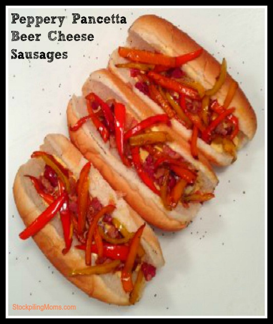 Peppery Pancetta Beer Cheese Sausage has an amazing flavor and is perfect for game day.