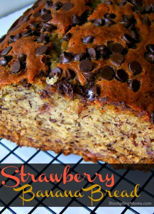 Strawberry Banana Bread is delicious and perfect for breakfast or a treat!
