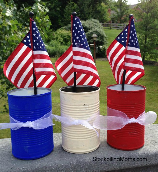 Patriotic Tin Cans are perfect for plastic wear!