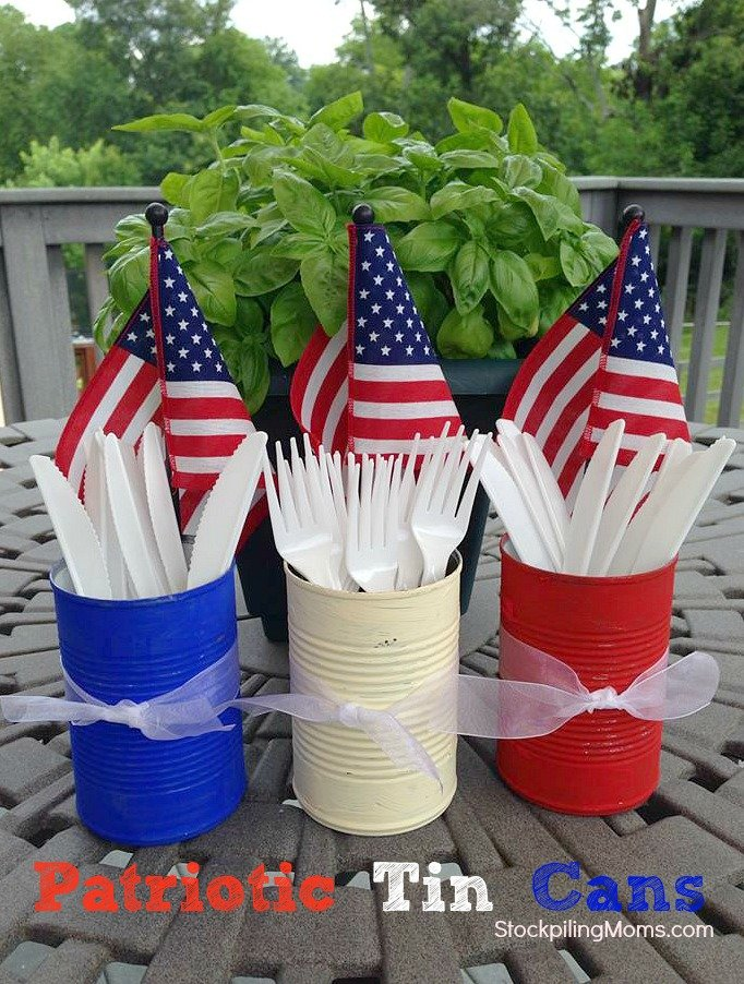 Patriotic Tin Cans | Patriotic 4th Of July Party Ideas You Can DIY On A Budget