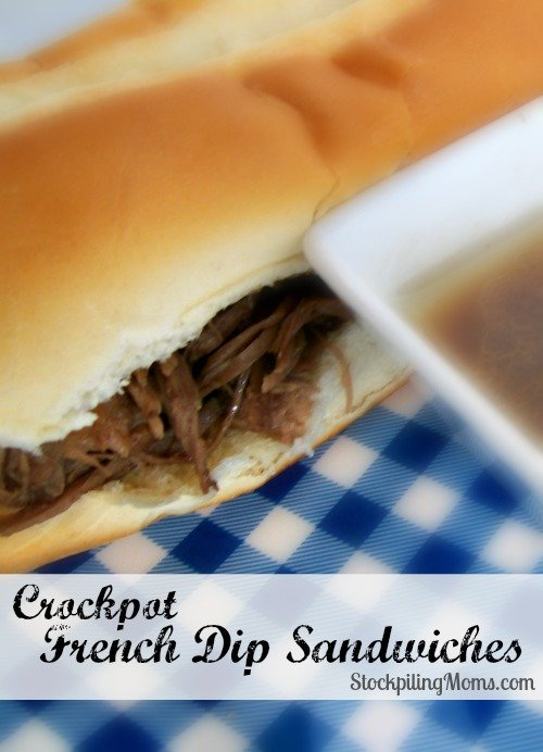 Crockpot French Dip Sandwiches are AMAZING! We love this delicious dinner and it is a great freezer meal too!