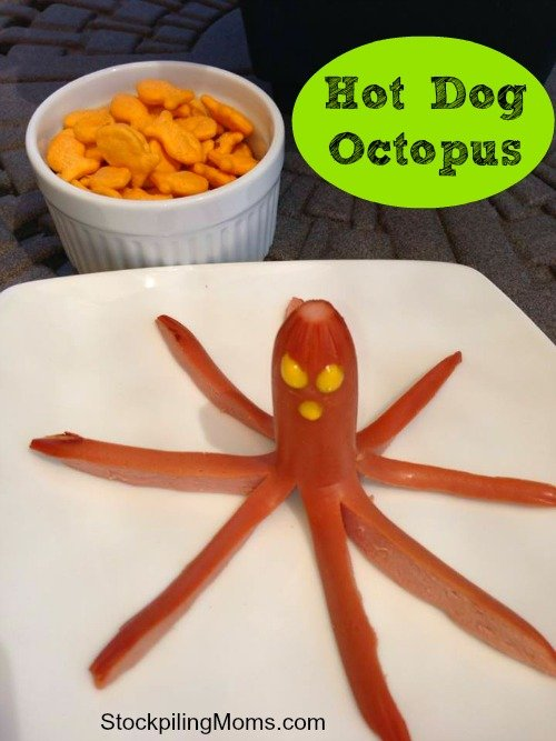 Create a Hot Dog Octopus for your kids to eat for lunch! So easy to prepare! They will love it!