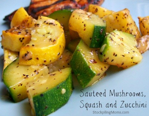 Sauteed Mushrooms, Squash and Zucchini is a healthy side dish recipe that is Paleo, Gluten Free and Whole 30 compliant.