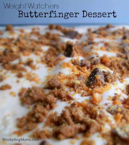 Weight Watchers Butterfinger Dessert. Only 4 WW points in this delicious low fat dessert. A must pin!