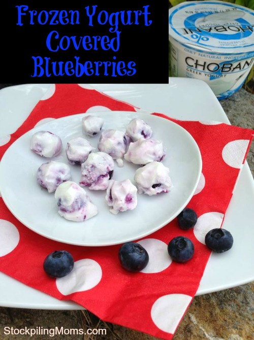 There are only two ingredients in this healthy snack! Frozen yogurt covered blueberries are perfect in the summer by the pool!