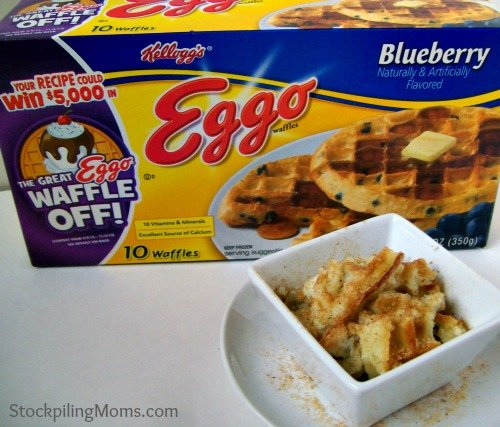 Blueberry Waffle Casserole is easy to make with Eggo waffles and tastes amazing!