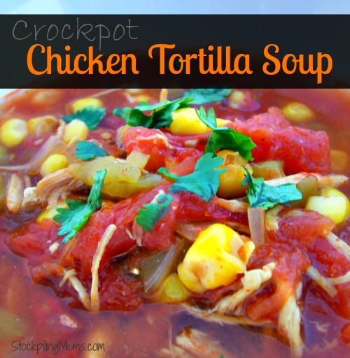 Crockpot Chicken Tortilla Soup is a delicious recipe for a cold day!
