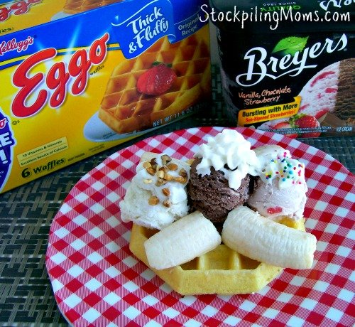 Mini Banana Split Waffles are a perfect afternoon treat or dessert for my kiddos who love Breyers ice cream and Eggo Waffles! When I added the waffle to their banana split they were super excited to dig right in and enjoy! I love how I was able to take one of their favorite breakfast foods and turn it into a dessert recipe!