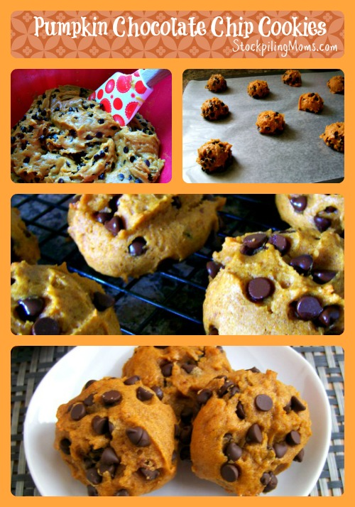 Pumpkin Chocolate Chip Cookies made from scratch and tastes delicious! Perfect for fall!