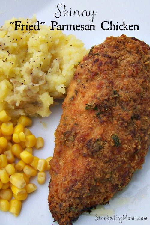 """Skinny """"Fried"""" Parmesan Chicken is packed full of taste and crunch! You get all the goodness of fried chicken but with half the fat and calories."""